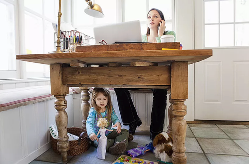 Desk with family